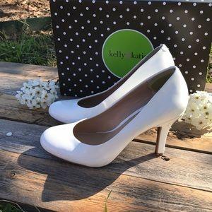 Kelly & Katie white pat heels
